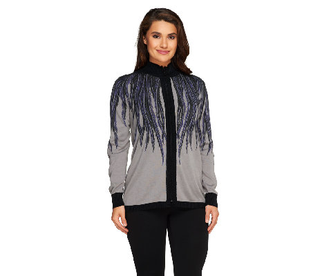 Bob Mackie's Placement Print Zip Front Cardigan with Rib Trim