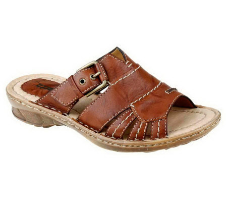 Earth Willow Distressed Leather Slide Sandals