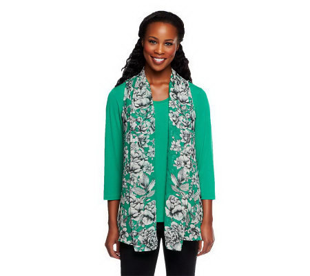 Susan Graver Printed Chiffon Vest with Liquid Knit 3/4 Sleeve Top