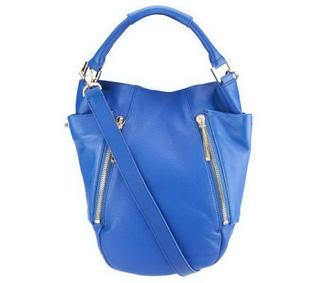 """As Is"" Kelsi Dagger Ayden Pebble Leather Convertible Hobo Bag"