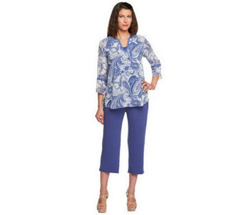 """As Is"" Susan Graver Retro Print Georgette Top and Crop Pants - A240130"