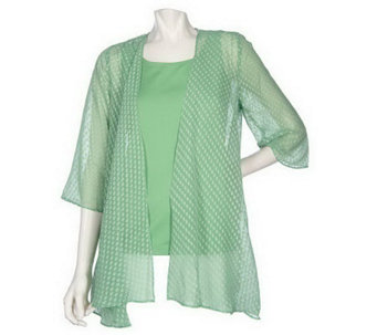 """As Is"" Susan Graver Swiss Dot Open Front Cardigan with Butterknit Tank - A240230"