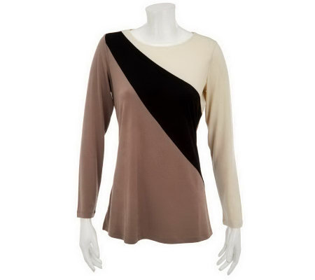 """As Is"" Susan Graver Liquid Knit Angled Seam Color Blocked Tunic"