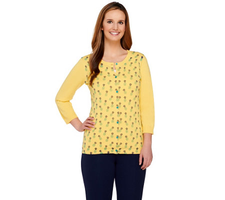 Liz Claiborne New York 3/4 Sleeve Pineapple Print Knit Cardigan