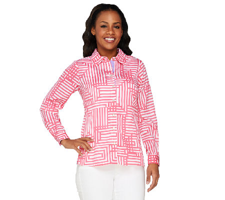 Bob Mackie's Geometric Print Long Sleeve Shirt Collar Stripe Shirt