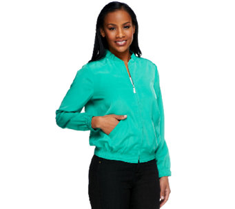 Susan Graver Stretch Peachskin Zip Front Bomber Jacket - A252430