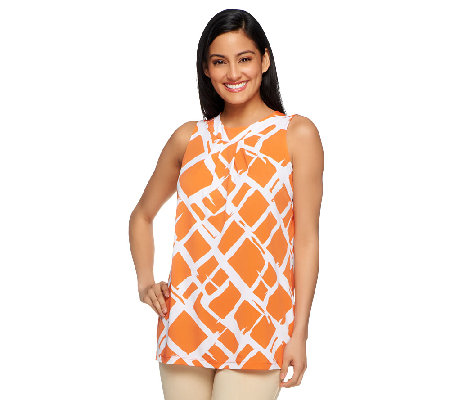 Susan Graver Liquid Knit Bateau Neck Printed Tank w/ Pleat Detail