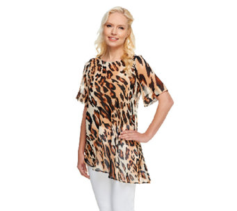 George Simonton Animal Print Chiffon Top with Asymmetric Hem - A254730
