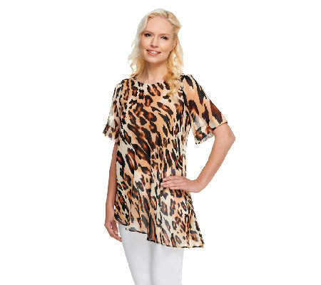 George Simonton Animal Print Chiffon Top with Asymmetric Hem