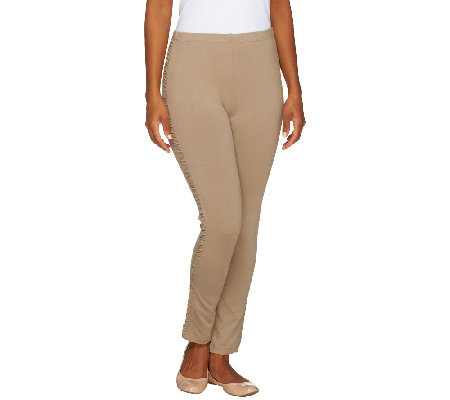 Susan Graver Weekend Cotton Spandex Leggings with Side Ruching