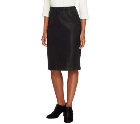 Joan Rivers Faux Leather Pull-on Slim Skirt