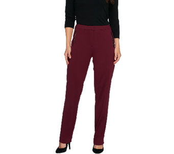 Susan Graver Soho Ponte Fly Front Pants w/ Faux Leather Detail -Regular - A258630