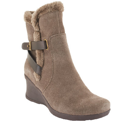 BareTraps Suede Water Resistant Wedge Ankle Boots - Nonna