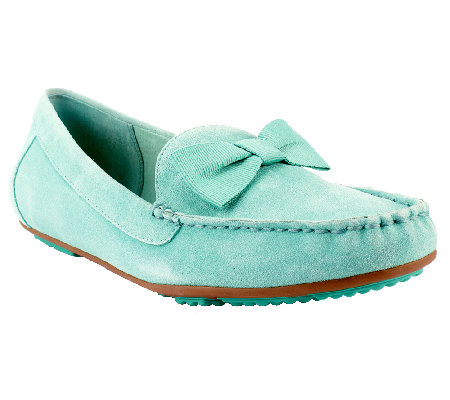 """As Is"" Isaac Mizrahi Live! Suede Moccasins with Bow Detail"