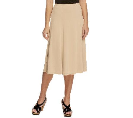 """As Is"" Susan Graver Premier Knit Petite Pull-on Six Gore Skirt"