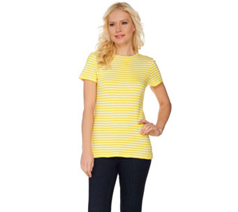 Isaac Mizrahi Live! Essentials Striped Crew Neck T-Shirt - A260930