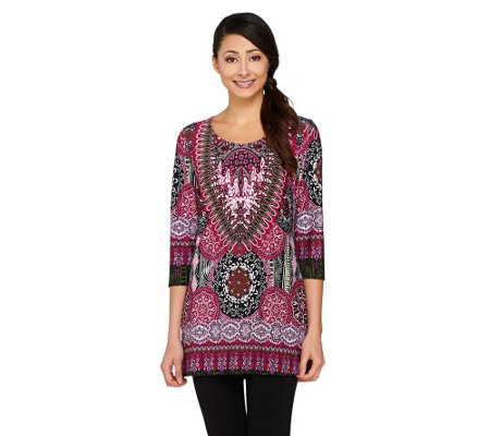 Attitudes By Renee 3/4 Sleeve Medallion Printed Top