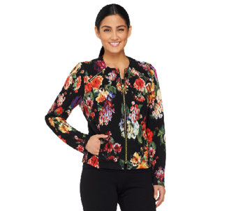 George Simonton Printed Knit Jacket with Zipper Detail - A262230