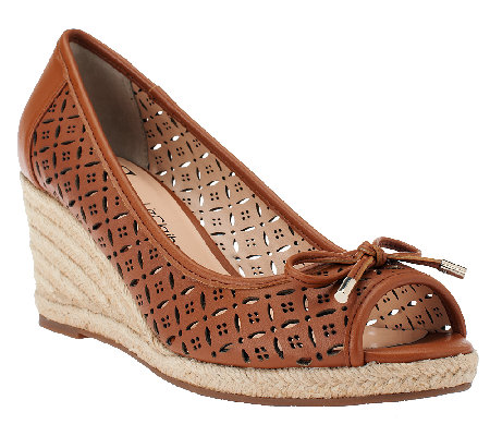 """As Is"" Liz Claiborne New York Perforated Wedges w/ Bow Detail"