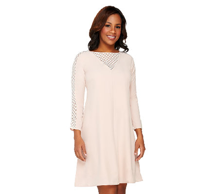 Styled by Joe Zee Woven Dress with Lace Sleeve Inserts