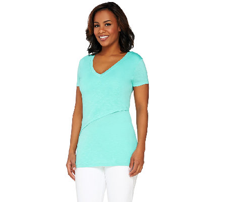 Lisa Rinna Collection Short Sleeve Front Layered Knit Top