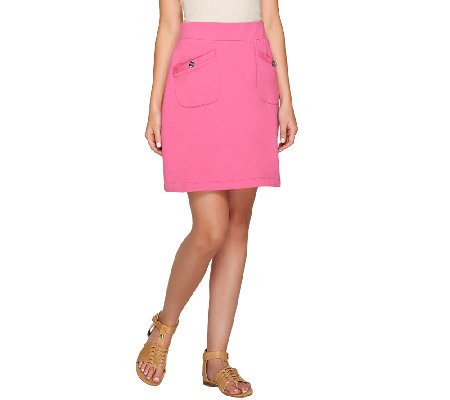 Susan Graver Weekend French Terry Pull-On Skort with Pockets