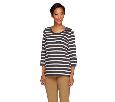 """As Is"" Denim & Co. Essentials Perfect Jersey Striped Top"