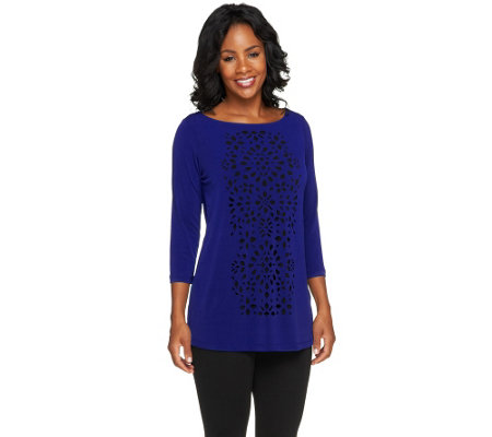 """As Is"" Susan Graver Liquid Knit 3/4 Sleeve Top with Cutout Design"