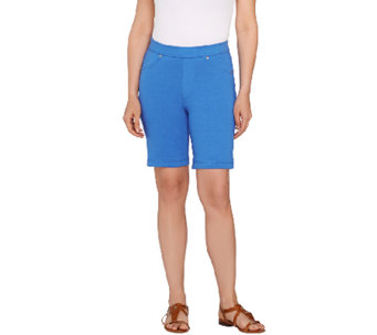 Susan Graver Weekend French Knit Pull-On Bermuda Shorts - A265030