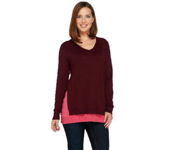Linea by Louis Dell'Olio Whisper Knit V-Neck Sweater - A268130