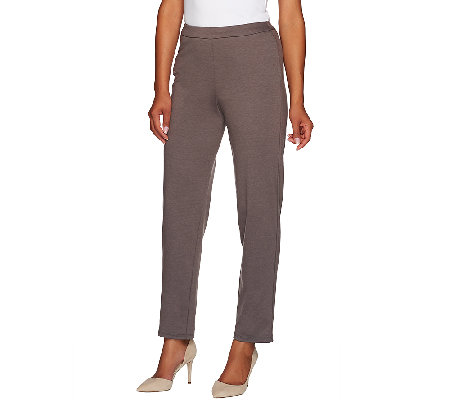 Bob Mackie's Pull-On Ponte Knit Straight Leg Pants