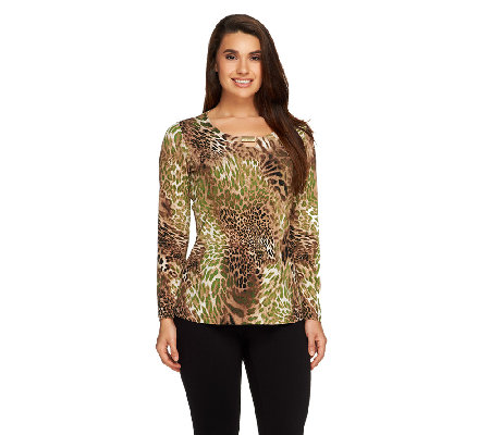 """As Is"" Susan Graver Printed Liquid Knit Top with Metal Embellishment"