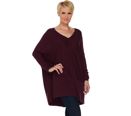 H by Halston Boyfriend V-neck Long Sleeve Pullover Sweater