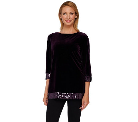 Susan Graver Artisan Stretch Velvet Tunic with Sequin Detail