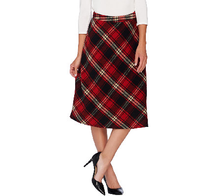 Dennis Basso Yarn Dyed Plaid Bias Cut Full Skirt