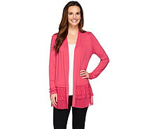 LOGO by Lori Goldstein Knit Cardigan with Chiffon & Embroidery - A273330