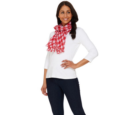 "Denim & Co. Gingham Printed Scarf 28"" x 72"""