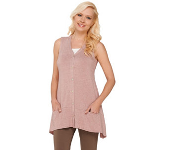 """As Is"" LOGO by Lori Goldstein Knit Vest with Contrast Pocket Detail - A274630"