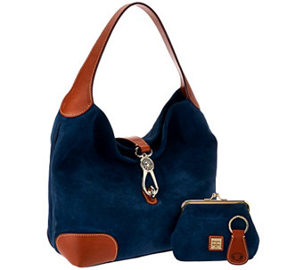 """As Is"" Dooney & Bourke Suede Hobo with Logo Lock - A274930"