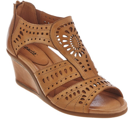 Earth Leather Wedge Sandals with Perforated Details - Crown