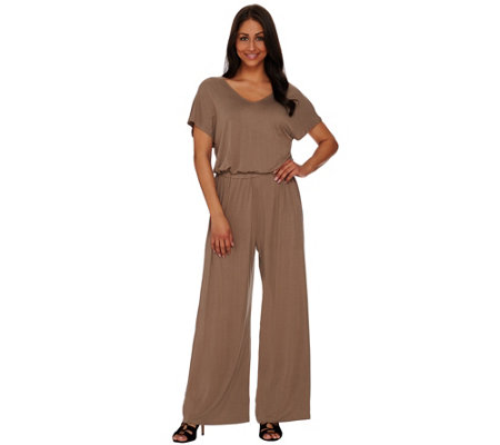 Lisa Rinna Collection Petite V-neck Wide Leg Knit Jumpsuit