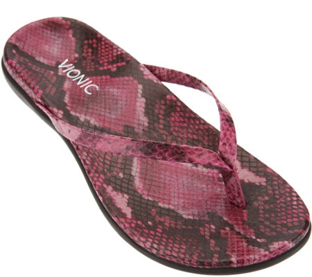 Vionic Orthotic Leather or Suede Thong Sandals - Corfu