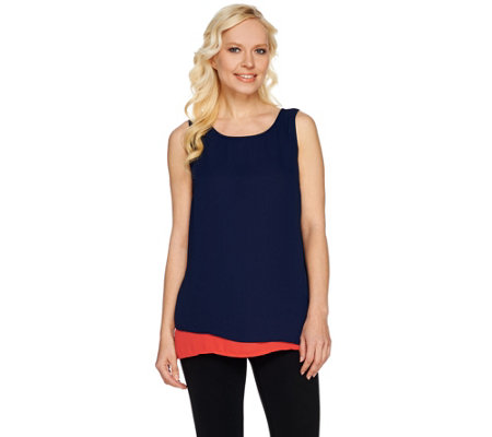 Susan Graver Feather Weave Colorblock Sleeveless Layered Top