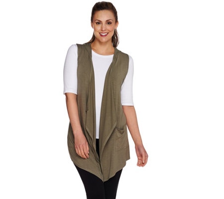 LOGO by Lori Goldstein Open Front Knit Vest with Hood