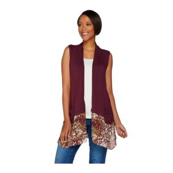 LOGO by Lori Goldstein Knit Vest with Printed Trim and Pockets