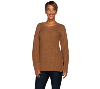 """As Is"" Lisa Rinna Collection Mixed Stitch Sweater - A276930"