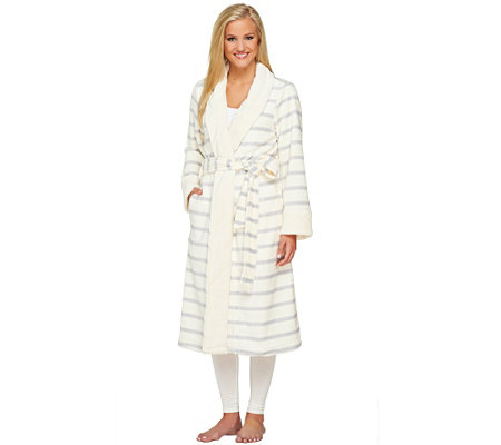 """As Is"" ED On Air Plush Stripe Print Robe by Ellen DeGeneres"