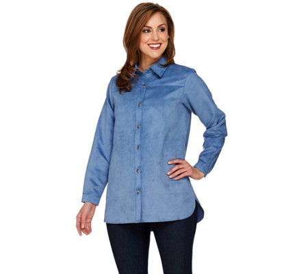 Joan Rivers Long Sleeve Faux Suede Boyfriend Shirt