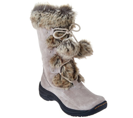 """As Is"" BareTraps Suede Water Repellant Boots with Faux Fur - Rei"