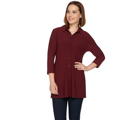 Dennis Basso Caviar Crepe Button Down Blouse
